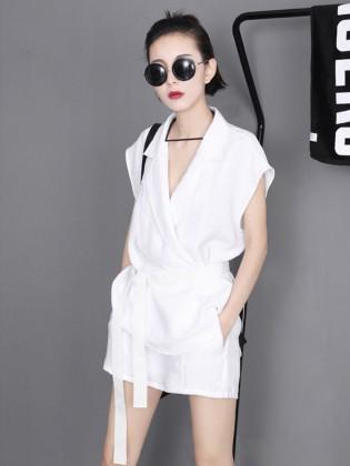 Jumpsuit short giả váy 2 túi cổ vest thời trang TV1187 (Màu trắng)