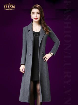 Áo khoác dạ dài cổ vest 2 khuy màu ghi thanh lịch TA1234