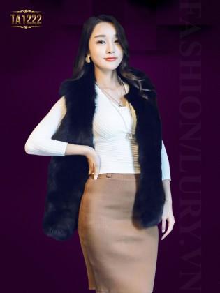 Áo khoác lông ghi-lê Hàn Quốc nhập khẩu cao cấp TA1222 (Màu đen)