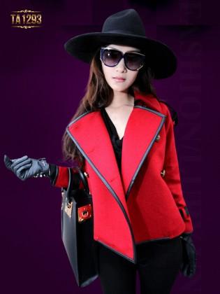 Áo khoác dạ đỏ ngắn phối viền da cao cấp TA1293