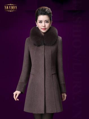 Áo khoác dạ trung niên Hàn Quốc cổ phối lông cao cấp TA1302