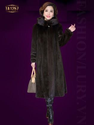 Áo khoác nhung lông màu đen dáng dài cổ trụ cao sang trọng TA1257 (Màu nâu)