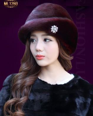 Mũ lông Hàn Quốc đính hạt cao cấp ML1260 (Màu đỏ)