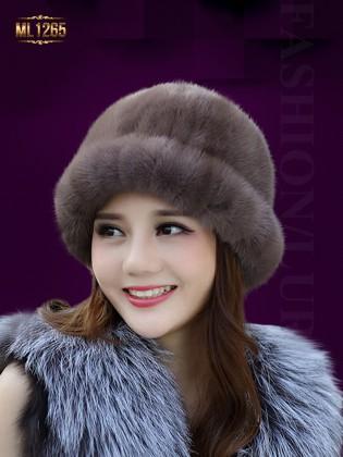 Mũ lông tròn bo vành HQ cao cấp ML1265 (Màu nâu)