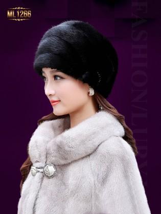 Mũ lông HQ viền ngang đính đá thời trang ML1266 (Màu đen)