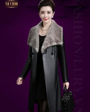 Áo khoác da trơn dài 2 cúc cổ lông thời trang TA1306 (Màu đen)