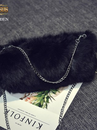 Túi xách lông dáng dài sang trọng TU1606 (Màu đen)