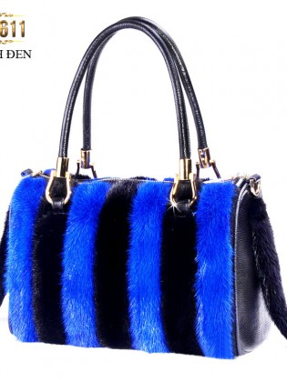 Túi xách lông phối màu nhập khẩu cao cấpTU1611( Xanh đen)