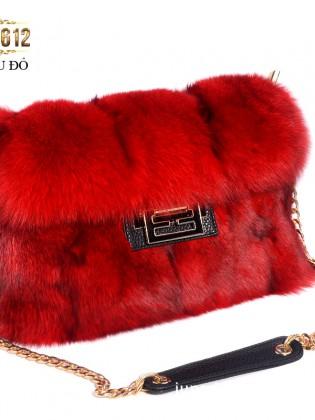 Túi xách lông khóa H thời trang TU1612 (Màu đỏ)