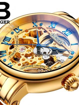 Đồng hồ cơ nam Binger chính hãng cao cấp (dây kim loại) DH976 (Mặt vàng dây vàng)