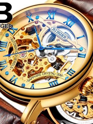 Đồng hồ cơ nam Binger chính hãng cao cấp (dây da) DH976 (Mặt vàng dây nâu)