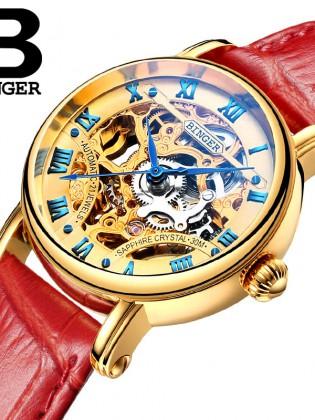 Đồng hồ cơ nữ Binger chính hãng cao cấp (dây da) DH977 (Mặt vàng dây đỏ)