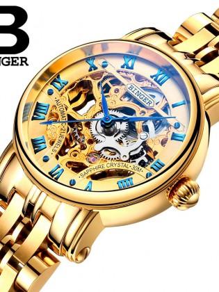 Đồng hồ cơ nữ Binger chính hãng cao cấp (dây kim loại) DH977 (Mặt vàng dây vàng)