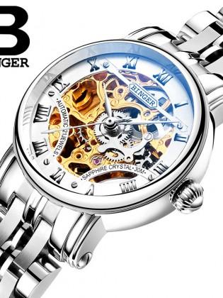 Đồng hồ cơ nữ Binger chính hãng cao cấp (dây kim loại) DH977 (Mặt bạc dây bạc)