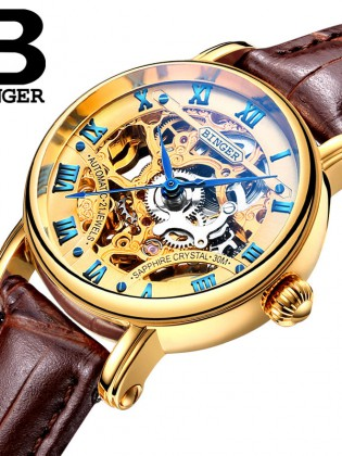 Đồng hồ cơ nữ Binger chính hãng cao cấp (dây da) DH977 (Mặt vàng dây nâu)