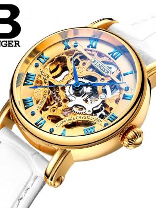 Đồng hồ cơ nữ Binger chính hãng cao cấp (dây da) DH977 (Mặt vàng dây trắng)