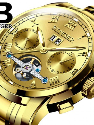 Đồng hơ cơ nam Binger mặt số La Mã chính hãng cao cấp (dây kim loại) DH978 (Mặt vàng dây vàng)