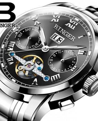 Đồng hơ cơ nam Binger mặt số La Mã chính hãng cao cấp (dây kim loại) DH978 (Mặt đen dây bạc)