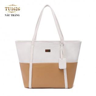 Túi tote da cao cấp phối màu thời trang TU1626 (Nâu trắng)