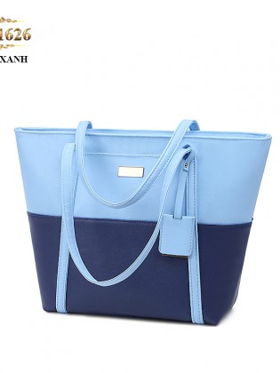 Túi tote da cao cấp phối màu thời trang TU1626 (Màu xanh)