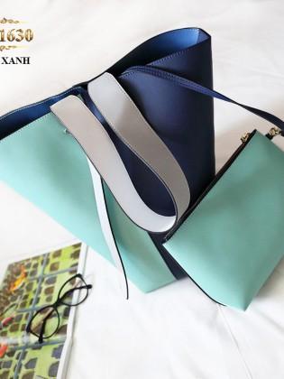 Túi bucket cao cấp quai xách bản to thời trang TU1630 (Màu xanh)
