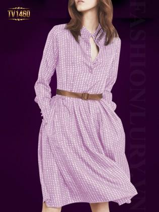 Váy xòe họa tiết màu tím nơ eo cao cấp TV1460