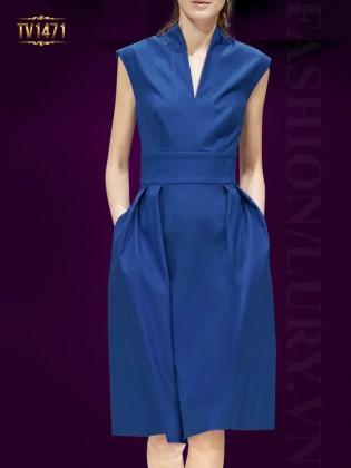 Đầm thiết kế cao cấp cổ V chiết eo màu xanh thời trang TV1471