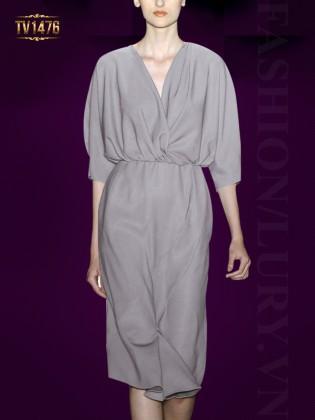 Đầm suông xếp li eo tay lỡ màu ghi thời trang TV1476