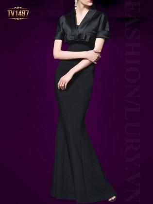 Đầm body kimono dáng dài màu đen sang trọng TV1487