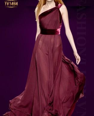 Đầm dạ hội lệch vai cao cấp sắc đỏ sang trọng TV1494