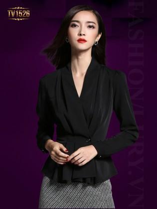 Đầm liền giả set áo sơ mi đen chân váy ghi họa tiết cao cấp TV1526