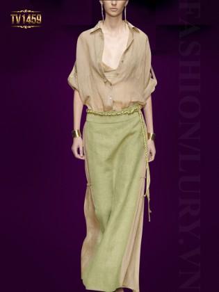 Set thiết kế cao cấp áo sơ mi nâu + chân váy dài đai tết thời trang TV1459