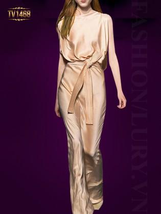 Đầm lụa suông dáng dài cao cấp sắc kem quý phái TV1468