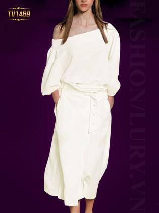 Set đầm trắng thiết kế cao cấp áo lệch vai tay lỡ sang trọng TV1469