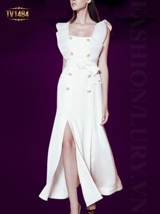 Váy thiết kế tà lệch cúc ngọc trai cao cấp TV1484