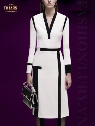 Đầm trắng thiết kế phối viền đen cao cấp TV1485