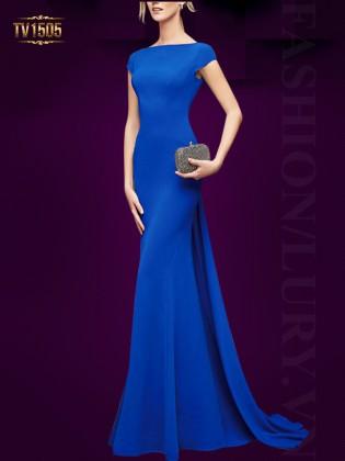 Đầm dạ hội đuôi cá màu xanh đơn sắc sang trọng TV1505