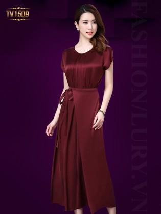 Đầm lụa đỏ cao cấp xếp li eo thắt nơ sang trọng TV1509