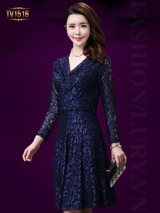 Đầm ren xanh họa tiết dài tay sang trọng TV1516