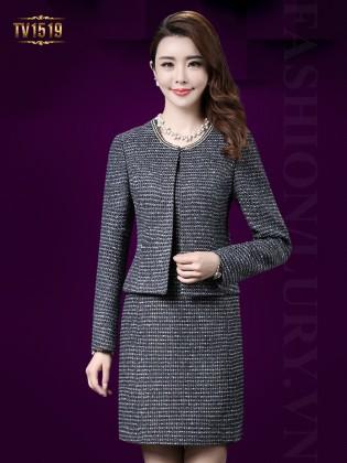 Set đầm dạ tweed ghi xám kèm áo khoác sang trọng TV1519