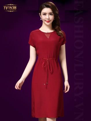 Đầm thô đũi trơn màu đỏ thắt dây eo cao cấp TV1538