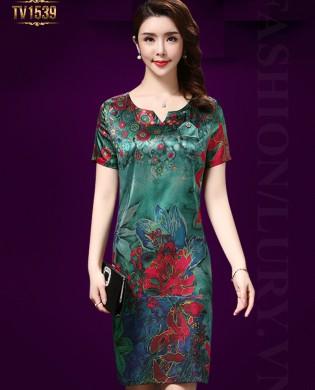 Đầm suông họa tiết hoa nền xanh cao cấp TV1539