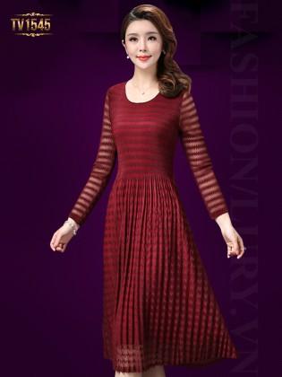 Đầm đỏ xòe 2 lớp sọc ngang thời trang TV1545