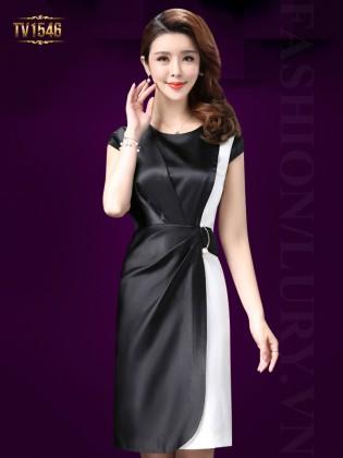 Đầm lụa suông phối màu xếp li lệch cao cấp TV1546