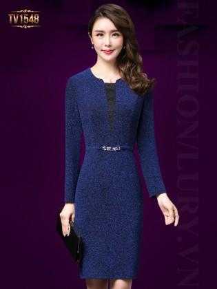 Đầm nhũ xanh dài tay dây đai đính đá cao cấp TV1548