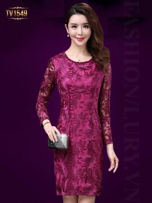 Đầm ren hoa tiết 2 lớp dài tay màu hồng sang trọng TV1549
