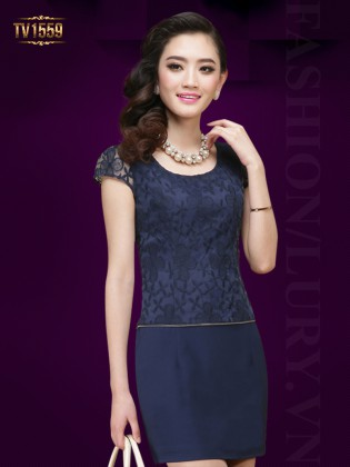 Đầm suông hoa ren xanh phối khóa chân váy cao cấp TV1559