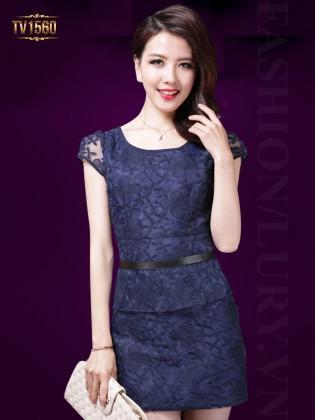 Đầm hoa ren xanh tay hến phối đai lưng cao cấp TV1560
