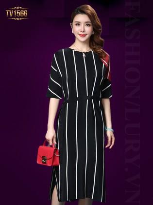 Đầm suông đen kẻ sọc trắng kèm đai thời trang TV1566