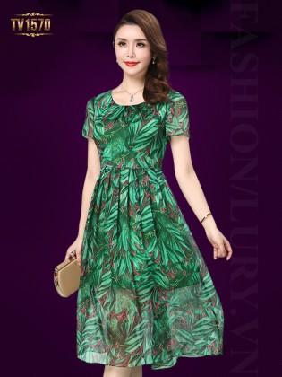 Đầm voan xòe 2 lớp họa tiết hoa lá thời trang TV1570